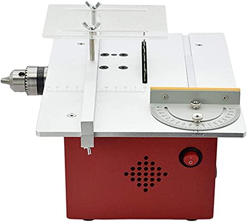 WXFCAS Mini Mesa de Mesa Multifuncional, Bricolaje Sierra eléctrica pequeña con función de Ranura, Sierra de Corte de ángulo Ajustable, Herramientas de carpintería para Metal, plástico, fabricación d