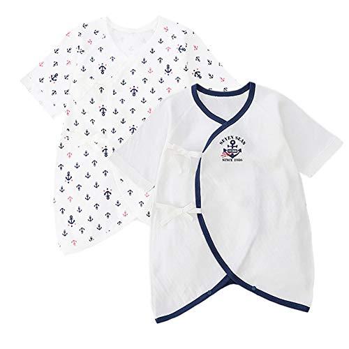YINOON コンビ肌着 2枚 新生児 肌着セット ベビーインナー パジャマ 綿 出産準備 出産祝い(50-60)