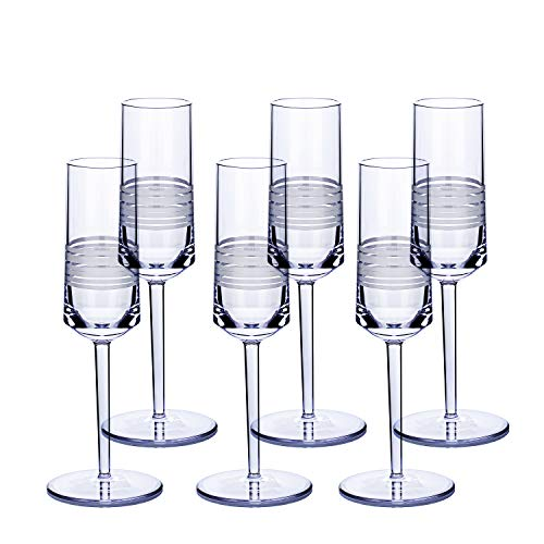 bzyoo BPA-Free Dishwasher Safe Durable Reusable Plastic Champagne Flute Drinkware Designed for Party Decoration Long Stem Plastic Champagne Flute Glass for Toasting (Set of 6, UNITY Ribbonetta White)