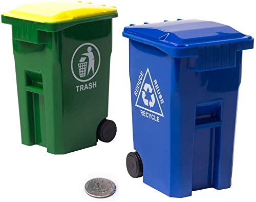 Mini Curbside Garbage Trash Bin Pen Holder and Unique Tiny Size Recycle Can Set Pencil Cup Desktop Organizer Green Blue 2-Pack