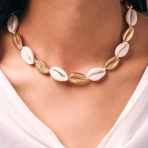 Yean Boho Puka Muschel Halskette Elfenbein Strand Gestrickte Muschel Halsketten Kette Choker Schmuck für Frauen und Mädchen (gold)