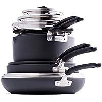 11-Piece GreenPan Levels Stackable Hard Anodized Ceramic Nonstick, Pots and Pans Set (Black)