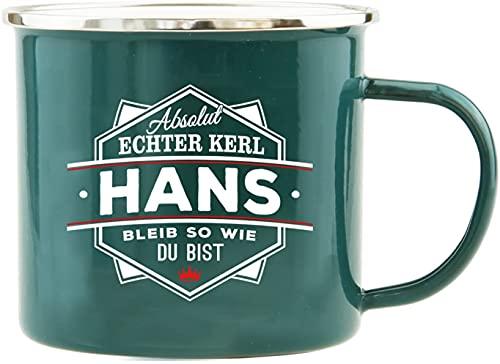 History & Heraldry Echter Kerl - Emaille Becher Hans - individuelle Tasse mit Name und Spruch