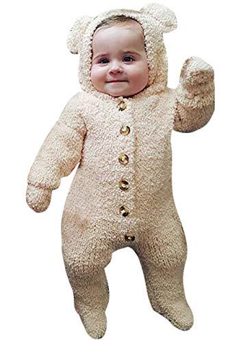 KIDDAD Infant Winter Snowsuit Baby Bear Romper Outfit Fleece Bunting Suit Outerwear Coat Jumpsuit Size 18-24Months/Tag100 (Biege)