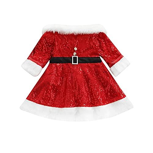 Christmas Kids Sequin Dress, Long Sleeve Off Shoulder Rhinestone Dress with Waist Belt, Kids Clothing (Red, 18-24 Months)