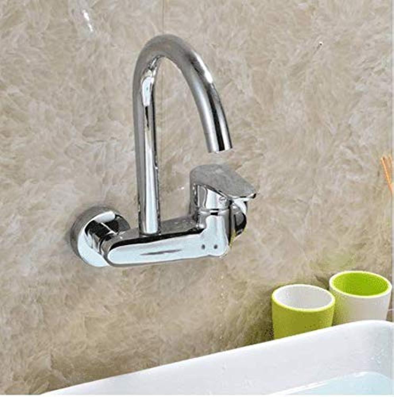 360 ° drehbarer Wasserhahn-Retro-Hahn-Mischbatterie verchromt an der Wand befestigter Küchen-Wasserhahn