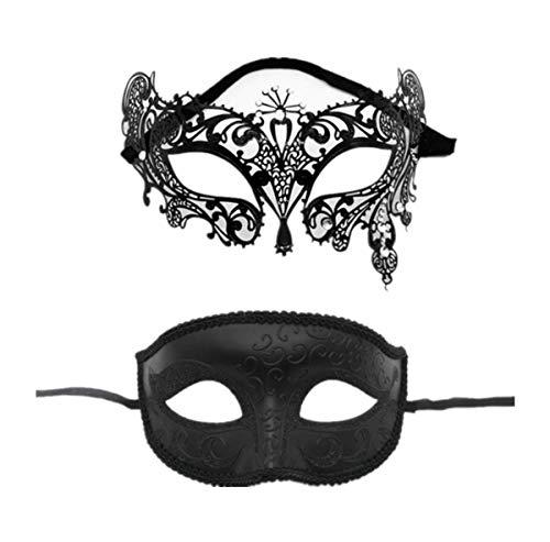 Yongbest Máscara de Encaje,2 Piezas Mascara Sexy Mujer Veneciano Máscara para Hombres Mujeres Chirismas Fiesta de Halloween Disfraz de Disfraces Negro