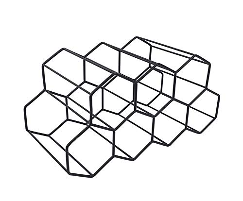 Casier à vin autonome - Support de table pour bouteilles de vin - Design géométrique pour cave à vin, bar, armoire - Noir