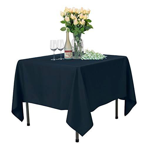 VEEYOO Nappe Carrée Nappe de Table 100% Polyester pour Table Intérieure et Extérieure - Nappe Dîner pour Le Mariage Fête Restaurant Café (Bleu Marin, 178x178 cm)