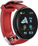 Reloj inteligente para hombre con presión arterial, reloj inteligente para mujer, impermeable, ritmo cardíaco, reloj inteligente para Android IOS (color: verde) y rojo