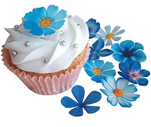 . Kuchendekoration mit schönen blauen Blumen aus vorgeschnittenem, essbarem Reis- / Oblatenpapier, Dekoration für Cupcakes, Kuchen, Desserts, für Geburtstagspartys, Hochzeiten, Babypartys, Flowers