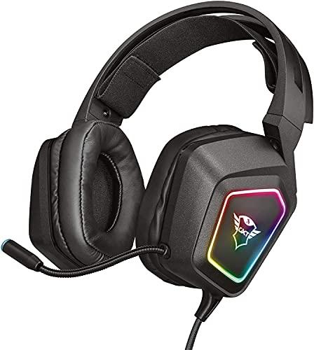Oferta de Trust Cascos Gaming GXT 450 Blizz Auriculares para Gaming RGB 7.1, Sonido Virtual Envolvente, con Micrófono, para PC - Negro
