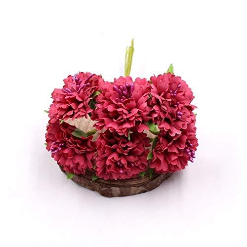 Mrjg Kunstblumen Ringelblume 6pcs / Bündel 3.5cm Minigänseblümchenblumenblumenstrauß künstliche Blumenhochzeitsdekoration DIY Fertigkeitausgangsdekorationzusätze Grünpflanzen (Color : Rose Red)