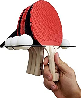 IRON AMERICAN Elite Ping Pong & Table Tennis Storage Rack, Holds 6 Balls and 4 Paddles, Heavy-Duty USA Steel Wall Mount Hanger Display Shelf, Ping Pong Ball Holder Hardware Included