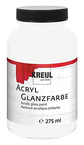 Kreul 79001 - Acryl Glanzfarbe, 275 ml Kunststoffglas in weiß, glänzend-glatte Acrylfarbe zum Anmalen und Basteln, auf Wasserbasis, speichelecht, schnelltrocknend und deckend
