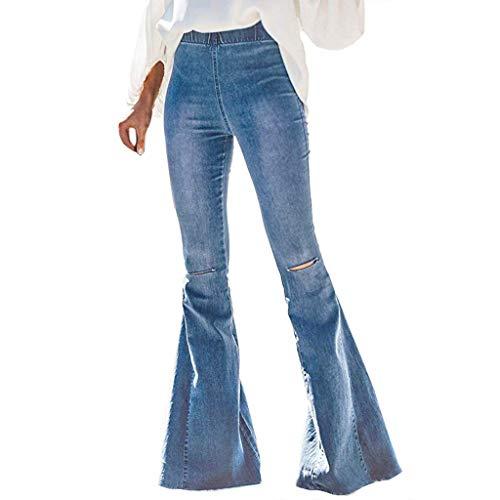Snakell Damen Jeans 60er 70er Vintage Stil Hose Schlaghose Casual Stretch Jeanshose Hüftjeans Weite Schlagjeans Flare Jeans Denim Damen Flared Jeans Slim Kick Flare Bootcut Hosen Bell-Bottom Jeans