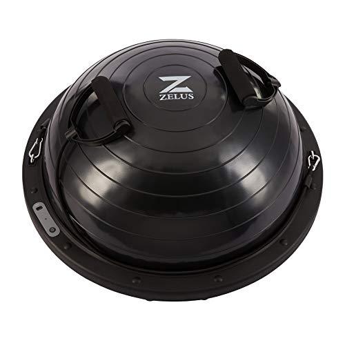 Z ZELUS 60cm Palla di Equilibrio, 300kg Pedana di Equilibrio con Base Antiscivolo, 20cm Alta Mezza Sfera Fitness Cupola Palla con 2 Elastici e Cavo USB per Casa (Nero)