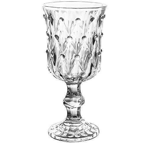Cabilock Verre à Vin en Verre 200 ML Gobelet en Verre en Relief Vintage Style Européen Vin Eau Jus Verre à Champagne pour Bar de Fête Maison
