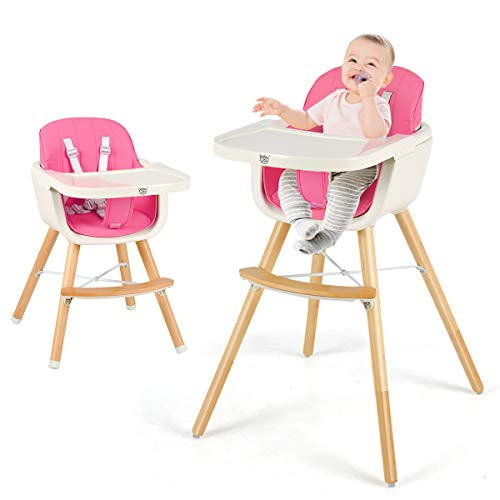 HONEY JOY Baby High Chair, 3 in 1 Convertible Wooden Highchair/Booster Seat/Infant Chair w/Removable Food Tray, Safety Belt, Adjustable Legs, Portable...