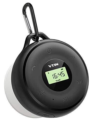 Altavoz Bluetooth Ducha, VTIN Q4 IPX7 Impermeable Altavoz Portatil, Pantalla LED, inalambrico altavoz Exterior con FM Radio, 10H de Reproducción