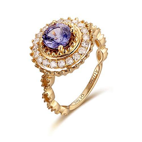 Beydodo Gold Ringe für Damen 750 Echt Diamond Halo mit Saphir 1ct Verlobungsringe Gold Trauringe 62 (19.7)