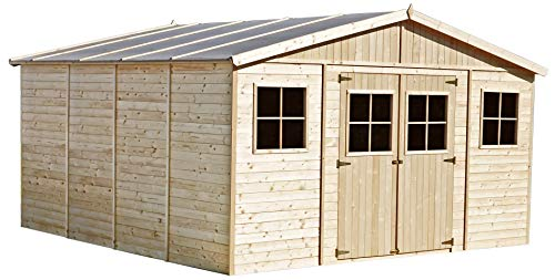 TIMBELA Wooden Garden Shed with base - Outdoor Storage with Windows - W14ft x L14ft x H8ft Timber Shiplap Shed - Garden Workshop - Bike, Tool Shed Storage M330+M330G