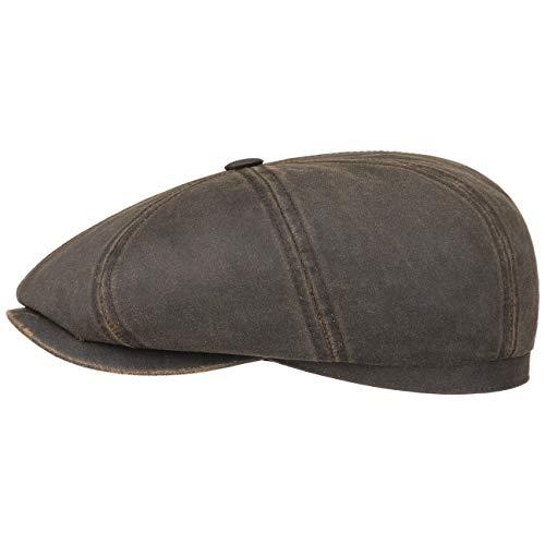 Stetson Gorra Plana Hatteras Old Cotton, Mujer/Hombre - Gorra Newsboy con protección UV 40 - Impermeable - Boina con algodón - Verano/Invierno marrón M (56-57 cm)