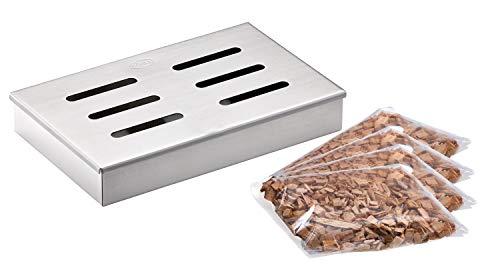 RÖSLE Räucherset 5-tlg., Räucherbox, Edelstahl 18/10, 4 Sorten Räucherchips, für Smoker, Holzkohle- und Gasgrills