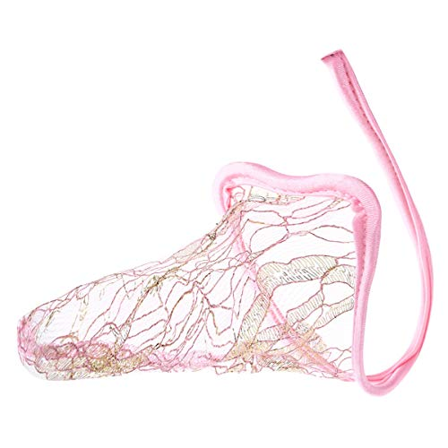 Aislor C-String Tanga Herren String Ouvert Transparent Dessous Lustige Unterhose mit Penishülle Mini Slip Mesh Shorts Underwear Rosa One Size