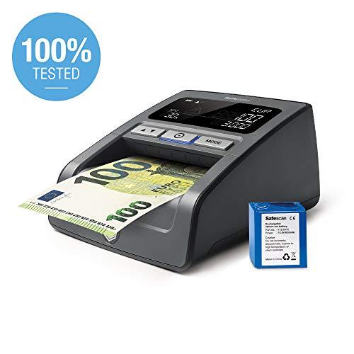 Safescan 155-SX - Verificatore banconote false con batteria ricaricabile incluso - Adatto per le nuove banconote da €100 e €200, Valute predefinite: EUR, GBP, CHF e PLN
