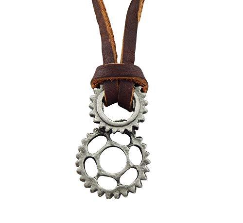 Veuer - Collana da uomo in vera pelle, con ciondolo a forma di ruota dentata, ideale come regalo di Natale per il marito o fidanzato