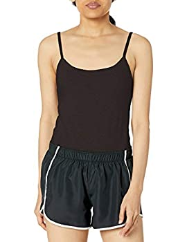 Hanes Women s Stretch Cotton Cami with Built-in Shelf Bra Black LARGE