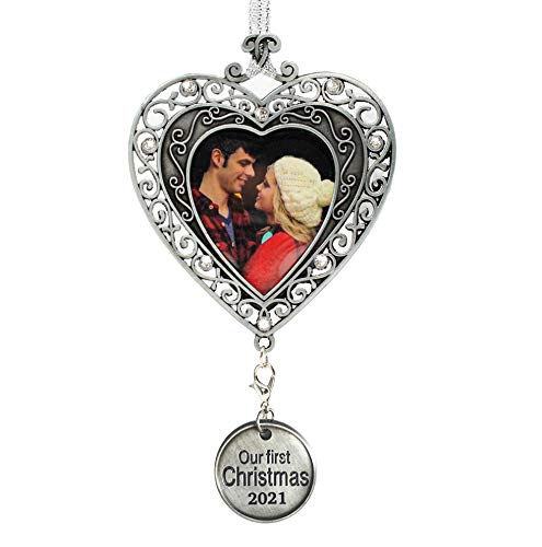 BANBERRY DESIGNS Our First Christmas Ornament 2021 - Silver Filigree Heart Shaped Photo Ornament – Xmas Picture Ornaments