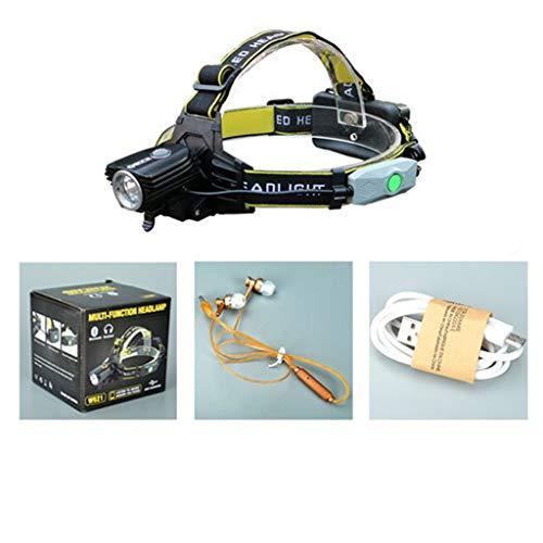 Koplampen met bluetooth-ledverlichting, T6, USB-aansluiting, waterdicht bij nacht