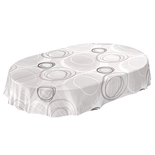 ANRO Tischdecke Wachstuch abwaschbar Wachstuchtischdecke Wachstischdecke Kreise Geometrie Weiß Silber Oval 180x140cm