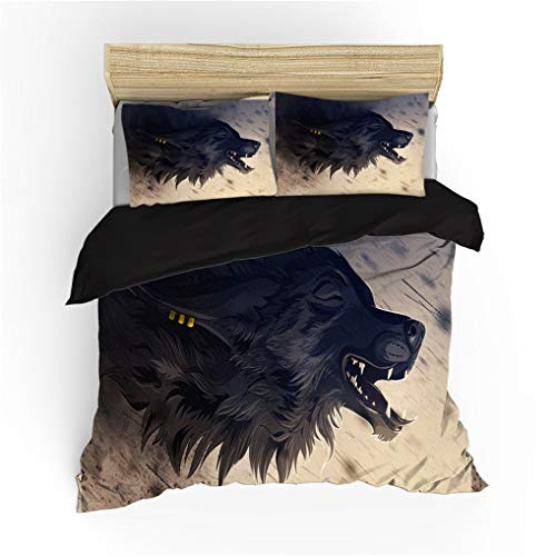 HNHDDZ Duvet Cover Set 3D Wolf Abstract Pattern Printing Quilt Cover Pillowcase Black Red Blue Polyester Microfiber Bedding Set for Kids Boy Girl With Zipper (Wolf 4, Super king 220x260 cm)