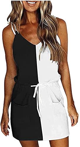 DLRBDMM Vestido de verano con cuello en V y tirantes de espagueti sin mangas, sin mangas, vestido de corte sin mangas, mini vestido suelto (color: negro, tamaño: pequeño)