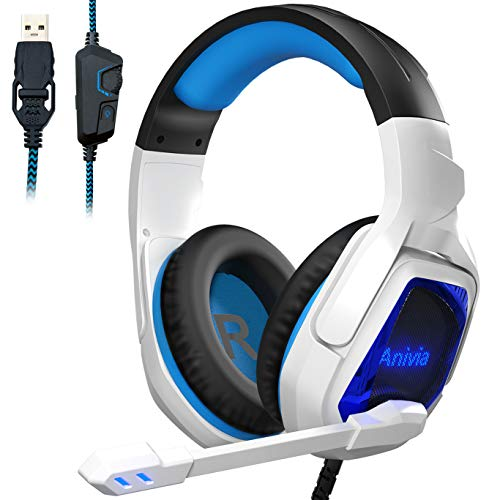 Anivia MH901 USB Gaming Headset 7.1 Surround Sound Headphones with Microphone Volume-control LED Light for PC Desktop Computer Notebook- White Blue