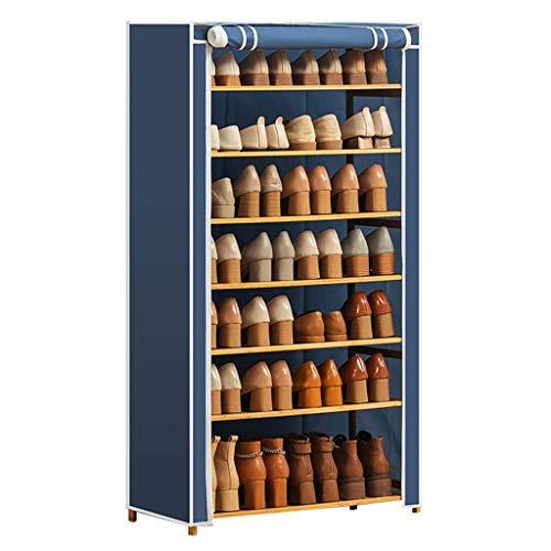 Zapatero 7 Niveles de tela Oxford zapatero simple muebles multifuncionales de bambú zapatos gabinetes de almacenaje plegable organizador de zapatos con la cubierta del paño Zapatera ( Color : Blue )