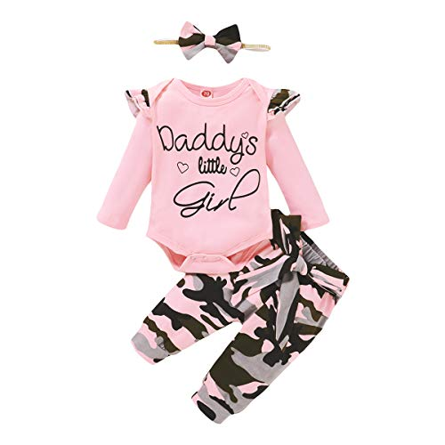 3PCS Newborn Baby Girls Clothes Infant Outfit,Romper Bodysuit Long Sleeve Tops Jumpsuit T-Shirt Ruffled +Camouflage Long Pants+Headband Fall Winter Sets(Pink,3-6 Months)
