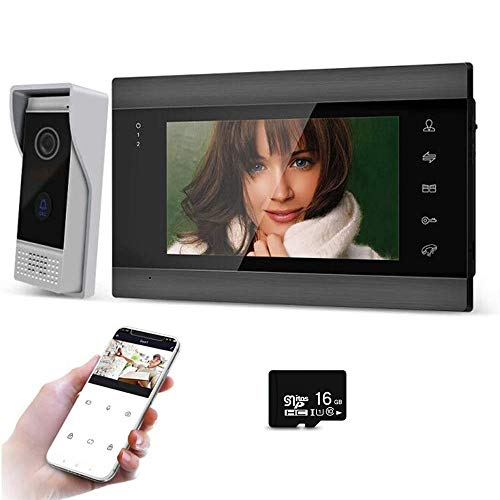 BCOM Video Door Phone Video Doorbell WiFi AHD Intercom System 7 Inch 4 Wired with 720P Camera Mobile Tuya APP with 16G TFT Card Unlock Record Motion Detection