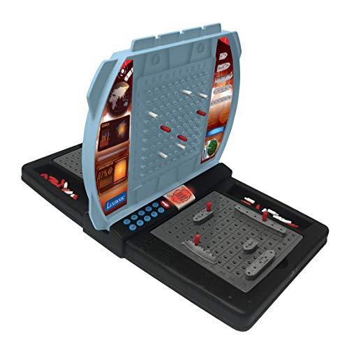 Lexibook GT2800 Sprechende Seeschlacht (Französisch Italienisch Niederländisch Deutsch), 1 oder 2 Spieler Brettspiel, interaktiv, mit soundeffekten, strategie, batteriebetrieben, grau/schwarz