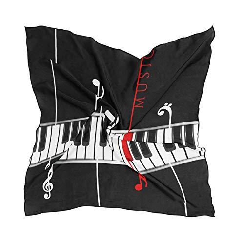 ALARGE Bufanda cuadrada de seda con nota musical patrón de piano protector solar ligero suave pañuelo bufandas abrigo chal silenciador para mujeres niñas