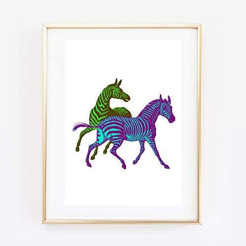 Din A4 Kunstdruck ungerahmt - Zebra Zebras Retro Pop Art türkis grün Illustration Geschenk Druck Poster Bild