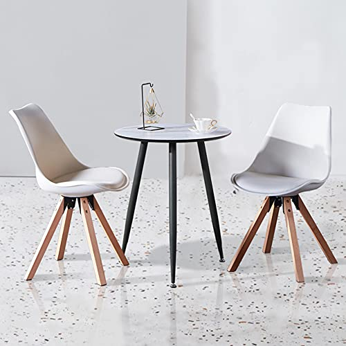 GOLDFAN Round Dining Table Small Modern Lounge Table Little Table with Metal Legs for Home and Office (Light Marble, Only Table)