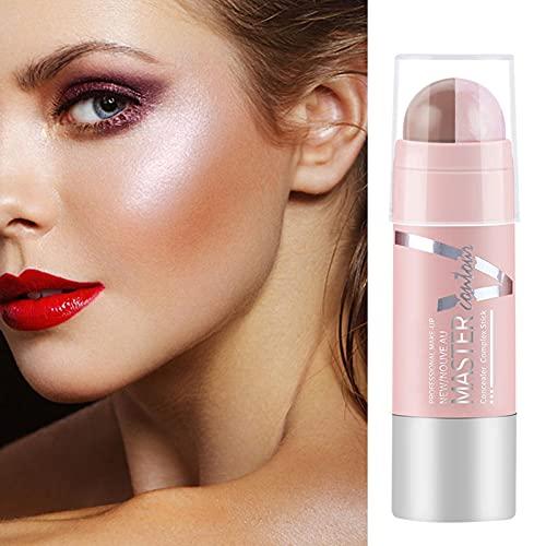 2 Colores Iluminadores De Maquillaje En Barra, Maquillaje De Contorno 2 In 1 Iluminador Facial Highlighter Stick Longue Durée Contouring Stick para Maquillaje De Ojos