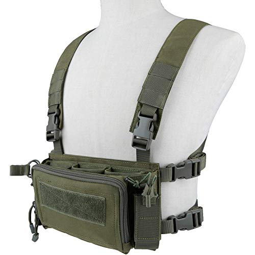 NICEFISH Camouflage Tactical Vest Airsoft Ammo Chest Rig 5.56 9mm Magazine Carrier Combat Tactical Military Camouflage Tactical Vest for Men (OD)