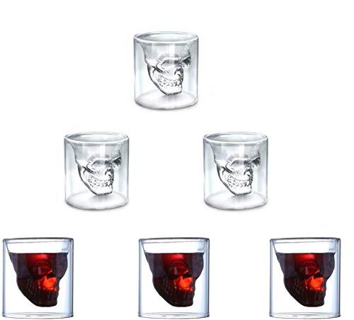Schedel Shot Glas, Set van 6 75ml Crystal Bril, Dubbele Laag Transparante Schedel Pirate Shotglasses Drink Cocktail Beer Cup, voor Thee, Wijn, Cocktail,Wodka