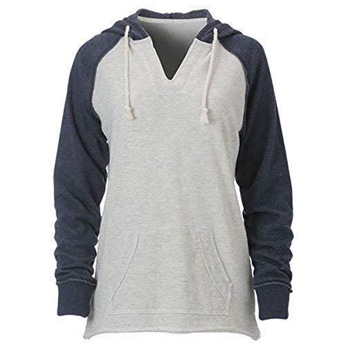 Ouray Sportswear Damen Loose French Terry Hood Kapuzenpullover, Oatmeal Heather/Navy Heather, Medium