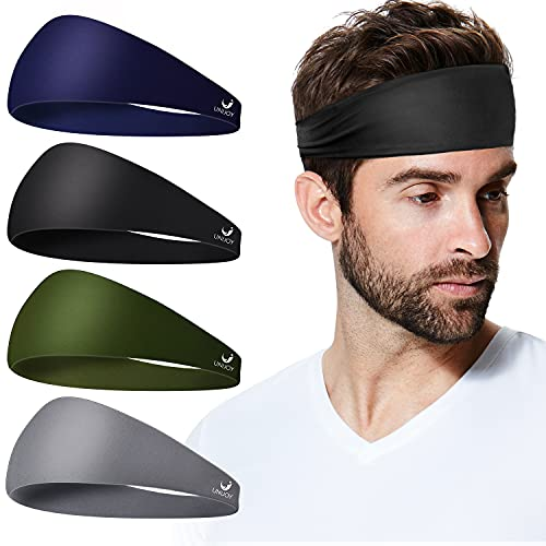Unijoy Headbands for Women & Men, 4 Pack, Sport Sweat Band Headbands, Mens Sweatband Headbands for Yoga, Running, Cycling, Workout, Spa, Highly Absorbent & Non Slip, Headwear Friendly, Multicolored